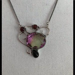 Woman Mystical Purple Bi Colored Tourmaline Gems Silver Charming Bracelets New